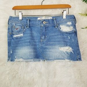 Hollister Distressed Jean Mini Skirt